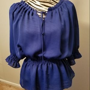Willie Smith Royal Blue Peasant blouse (M)